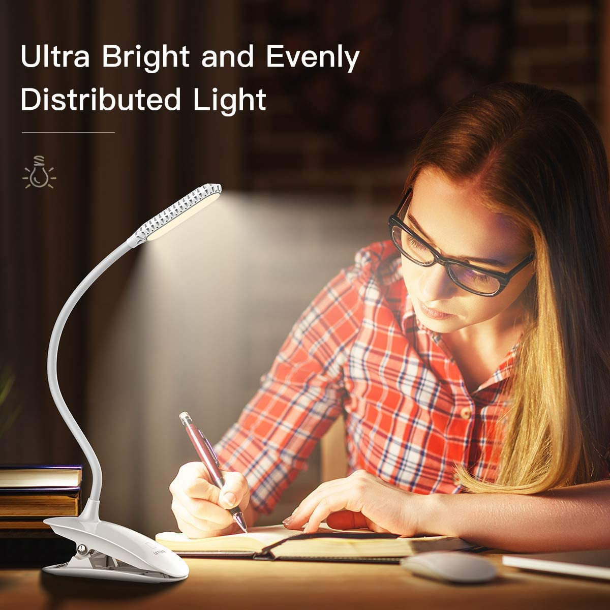 LOYLOV Ultra-Bright Warm LED Book Light 3 Brightness Eye Care Clip on Reading Light Touch Switch Bedside Reading Lamp USB Rechargeable Headboard Book Lamp for Reading in Bed at Night for Kids