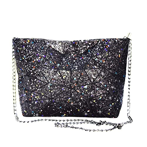 09ac11f1601db Amazon.com: Geometric Lattice Glitter Shoulder Bag Evening Bags Clutches  Geometry Lingge purse Handbags Chain Cross-Body Messenger Bag: Shoes