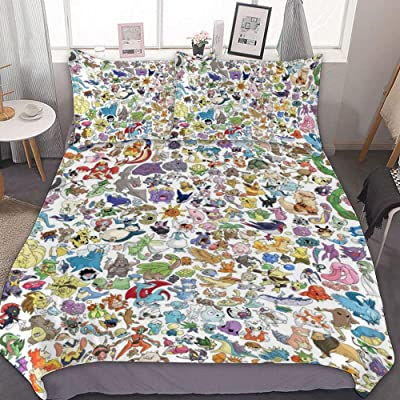 MEW Anime Poke-mon Full/Queen Bedding Duvet Cover Set,Poke-mon Pikachu (4),3 Pieces Bedding Set,with Zipper Closure and 2 Pillow Shams,Cute Boys Girls Comforter Sets,Luxury Bedroom Decorations: Kitchen & Dining