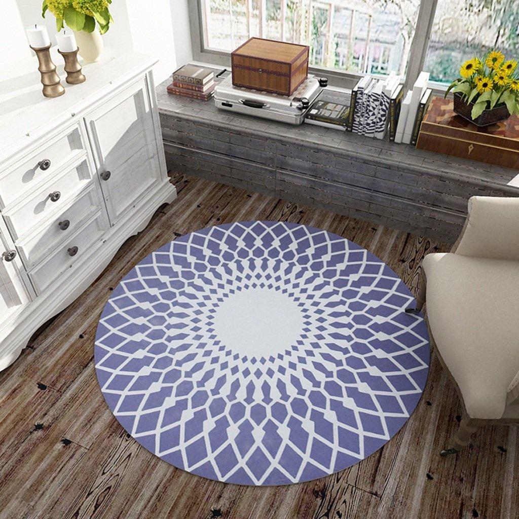 QIAO Tappeto in stile europeo rotondo tappeto camera da letto soggiorno tappeto tappetino (Colore : A, dimensioni : 80cm)