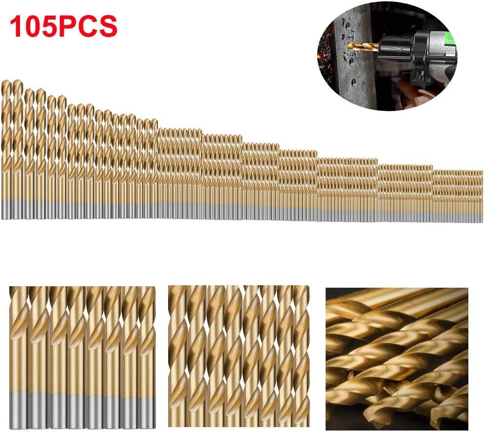 Twist Drill Bit Set(105PCS), LAMPTOP Titanium Drill Bit Set General Purpose High-Speed Steel, Metal Drill Bits Set for Wood, Plastic, Metal, Aluminum Alloy etc