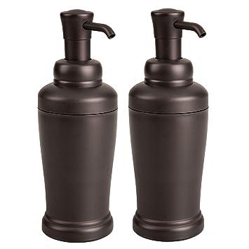mDesign Juego de 2 dispensadores de jabón recargables para baño o cocina – Elegantes dosificadores de