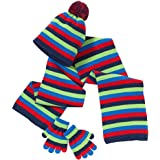 Hats, Hats, Hats Younger Boys Girls Rainbow Stripe Winter Pom Pom Beanie Hat Scarf Gloves Set