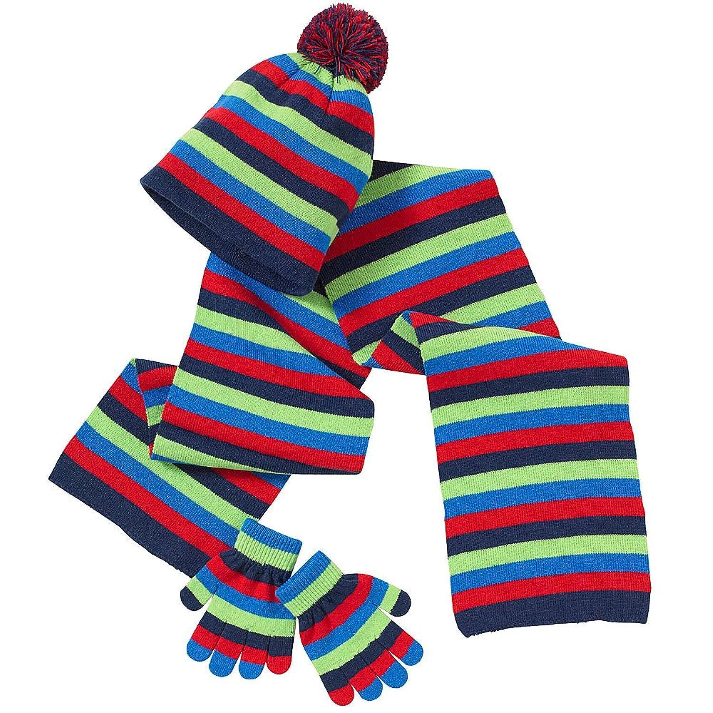 b4802c9fa3c704 Hats, Hats, Hats Younger Boys Girls Rainbow Stripe Winter Pom Pom Beanie  Hat Scarf