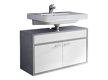Trendteam Badezimmer Waschbecken Unterschrank Schrank Hängend Spa, 77 X 46  X 35 Cm In Weiß