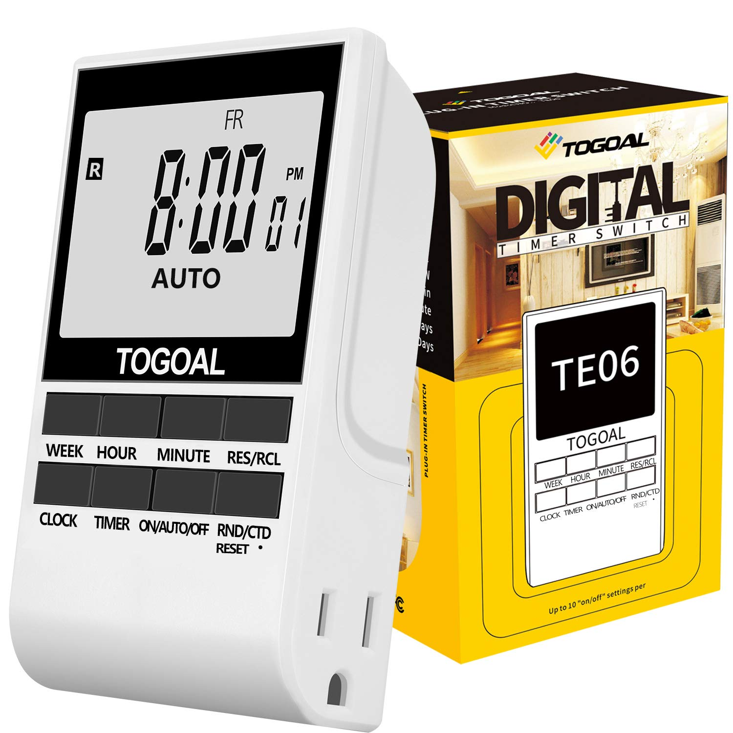 TOGOAL Outlet Timer Digital Light Plug with Dual Sided Outlets, Countdown and Random Setting, 24/7 Programmable (15A/1800W,1 Pack, TE06) by TOGOAL