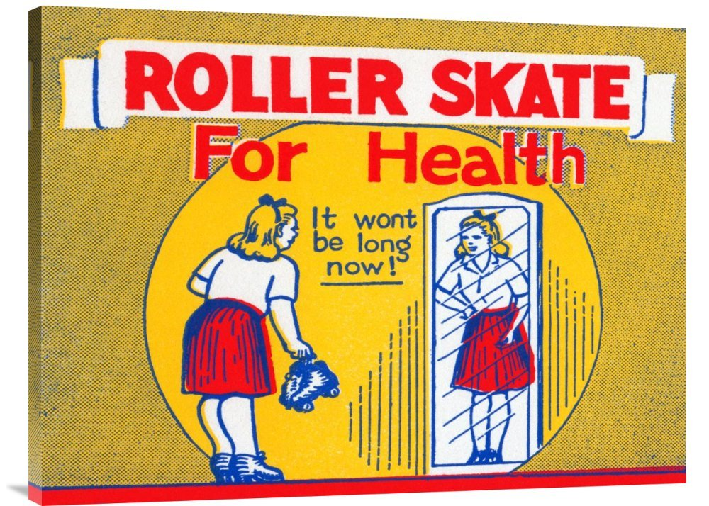 Global Gallery GCS-375758-36-142 ''Retrorollers Roller Skate For Health'' Gallery Wrap Giclee on Canvas Wall Art Print