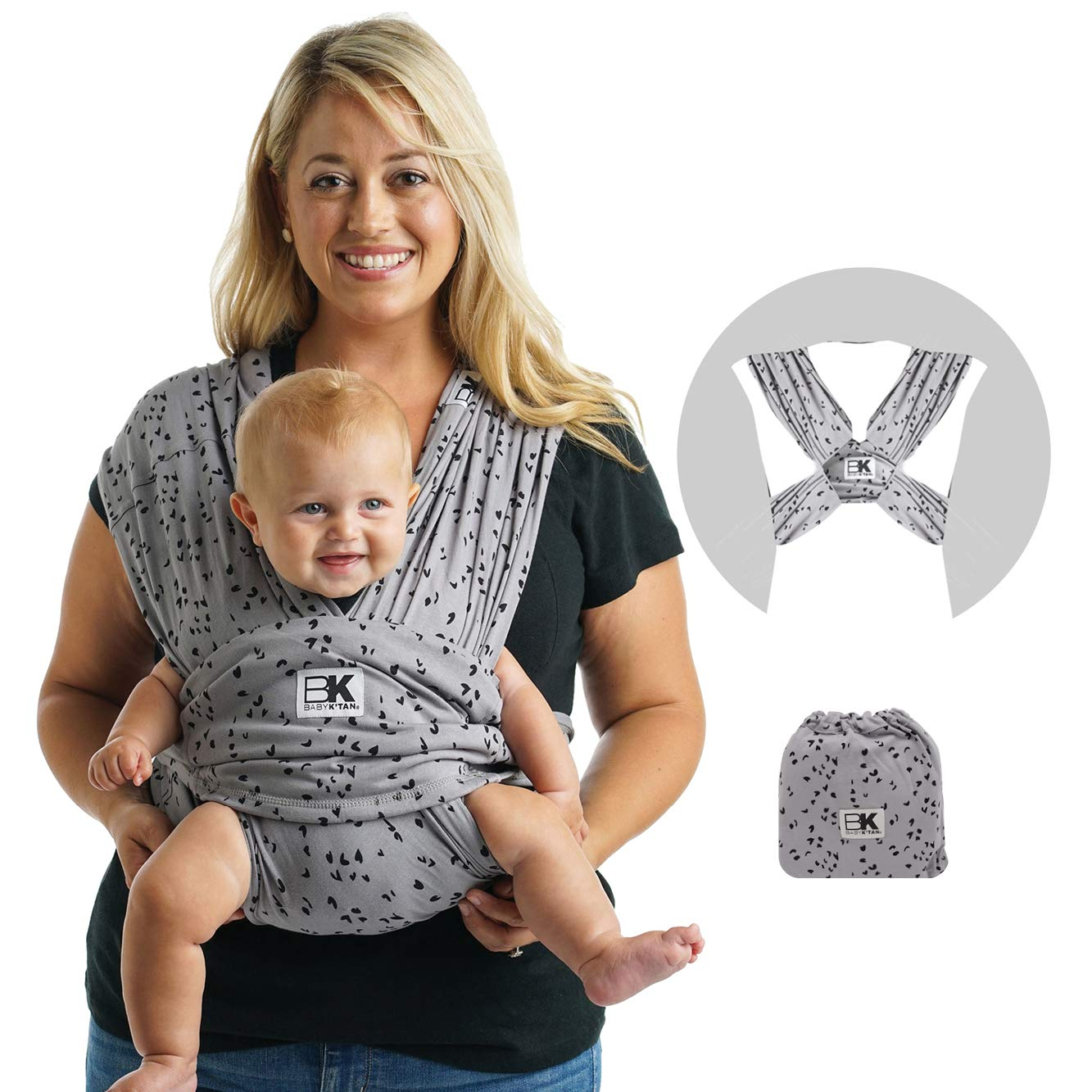 Baby K'tan Print Baby Wrap Carrier, Infant and Child Sling - Simple Wrap Holder for Babywearing - No Rings or Buckles- Carry Newborn up to 35 lbs, Sweetheart Grey, XS (W dress 2-4 / M jacket up to 36)