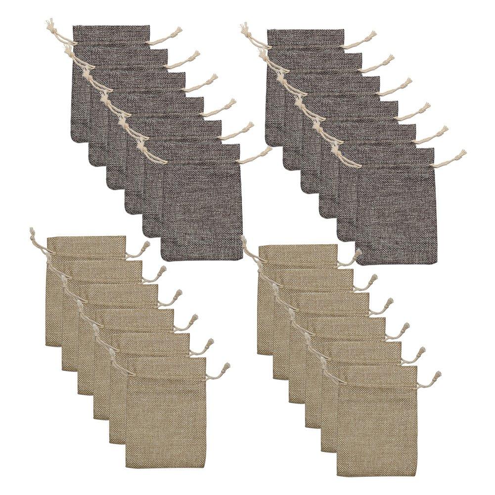 Allure Maek Pack of 24pcs 5.3x3.9 Inch Double Drawstring Linen Sack Muslin Bags Jewelry Pouch Sachet Souvenir Reusable Bag Gift Bags (Light Brown & Gray )