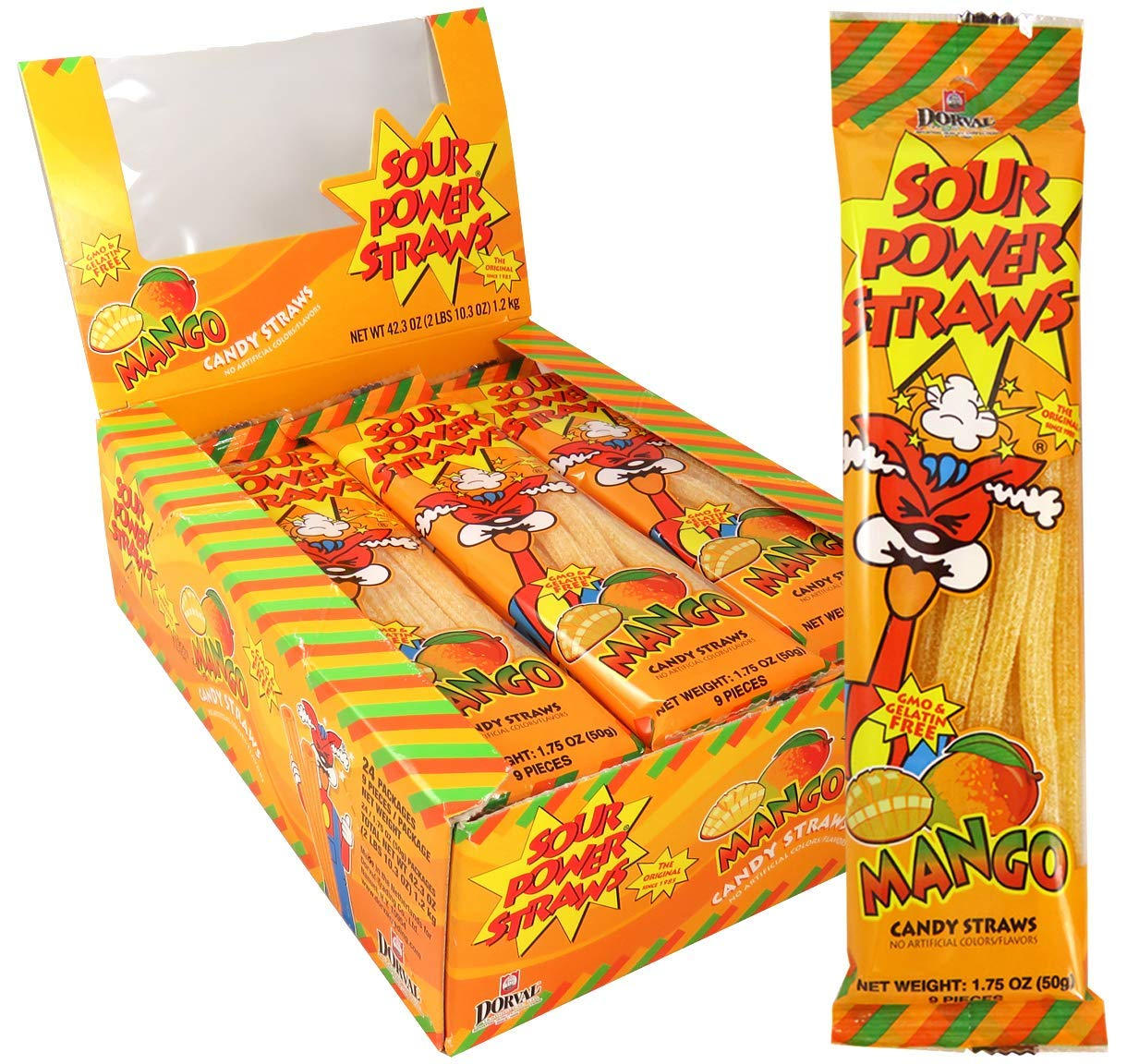 Dorval Sour Power Mango Candy Straws, 1.75 Ounce - Display Box of 24 Count