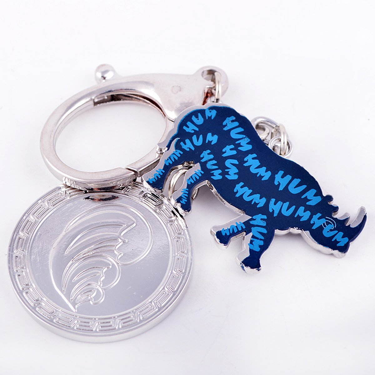 Feng Shui Blue Rhinoceros and Elephant Protection KeyChain Charm Amulet Handbag Hanging (W1071) fengshuisale