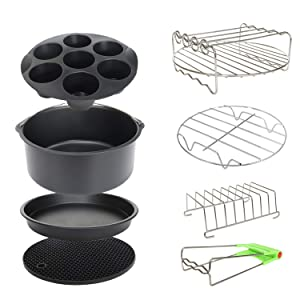 8 Inch XL Air Fryer Accessories 8Pcs for Phillips Cozyna and Secura etc,Fit all 4.2QT - 5.8QT Air Fryer