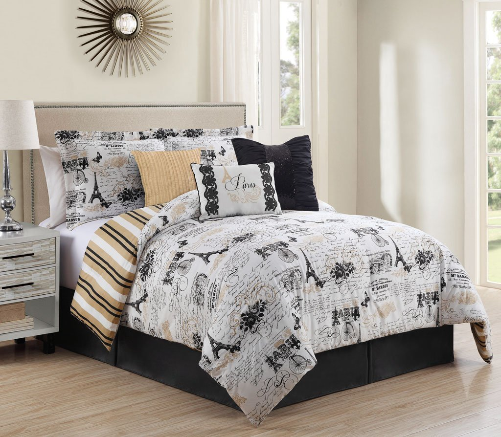Amazon.com: 7 Piece King Oh-La-La Reversible Comforter Set: Home ...