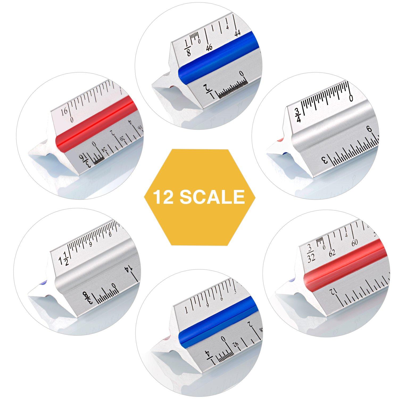 con 2 l/ápices para estudiantes de arquitectura ingenieros artesanos Regla triangular de 12 pulgadas para arquitectura de aluminio