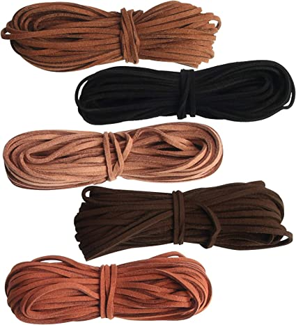 3 Pcs 3 mm Faux Leather Cord String 3 Colors Suede Rope
