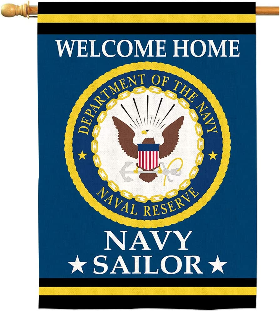 AOKDEER Welcome Home Sailor US Navy House Flags Natural Burlap Banners Garden Yard Deparatment of The Navy Outdoor Decorations Double Sided Naval Reserve American Military Flag 28x40