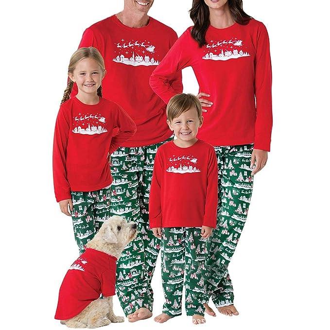 Zhhyltt Christmas Santa Family Matching Pajamas Set - Women Men Boys Girls Xmas  Family Clothes Long b1dd73592