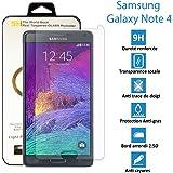 topaccs Samsung Galaxy Note 4 - Véritable vitre en verre trempé ultra résistante - Protection écran