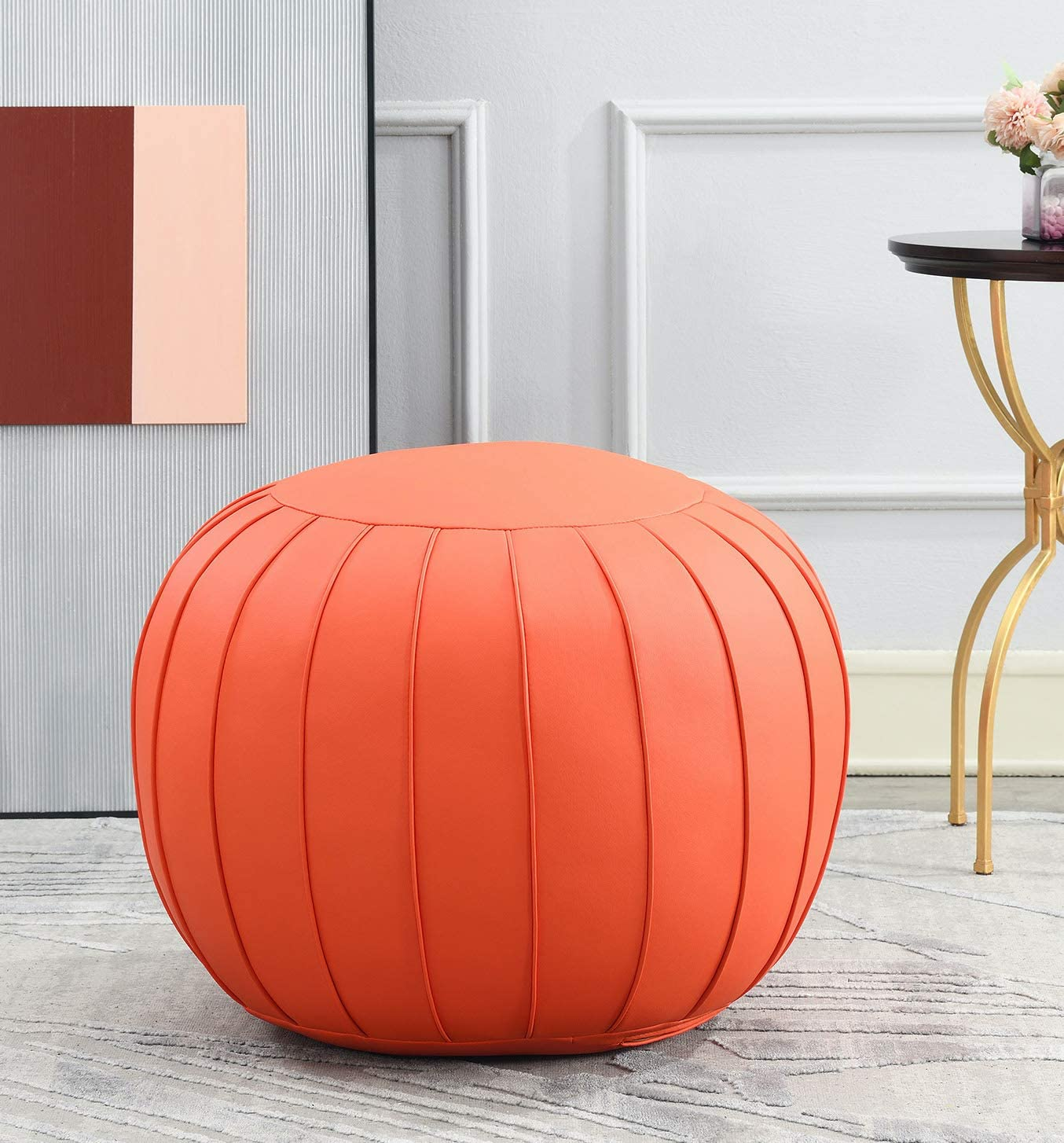 Comfortland Unstuffed Pouf Covers, Folding Faux Leather Ottoman Poufs,25x17 Foot Rest, Foot Stool, Bean Bag Chair, Storage Solution for Living Room, Bedroom, Kids Room or Wedding Gifts(Orange red)