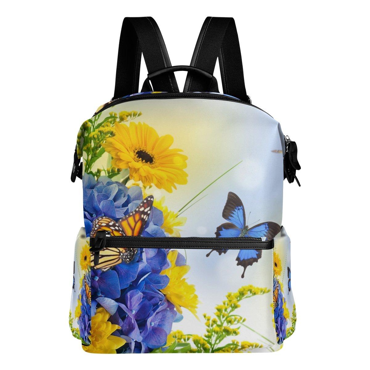 1af36898a8 COOSUN COOSUN COOSUN Zaino da viaggio Fiori farfalle Digital Hydragea  Margherite Blu scuola zaino Multi 97d776