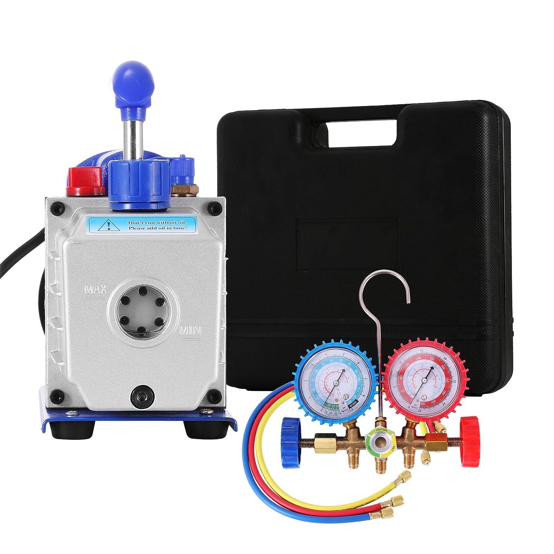 Olibelle 220V//50HZ 4CFM1//4HP Pompe /à Vide Climatisation Voiture Electrique Air Vacuum Pump Syst/èmes de R/éfrig/ération Climatisation