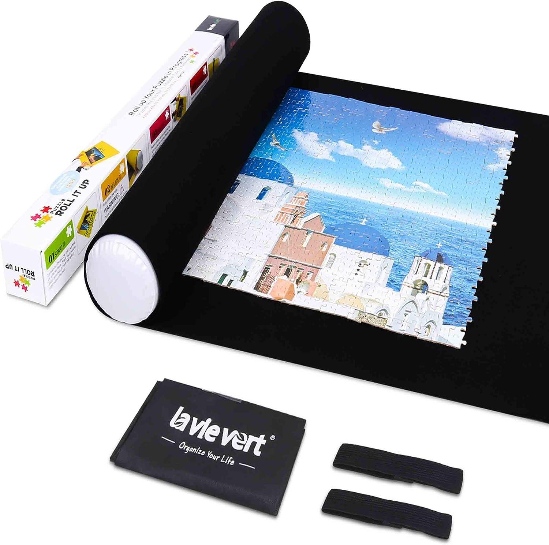 LAVIEVERT Jigsaw Puzzle Roll Mat Puzzle Storage Saver Black Felt Mat