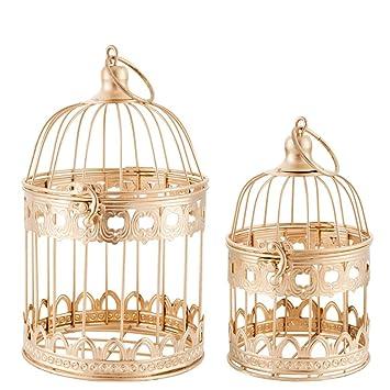 Qilicz 2 Pcs Deco Décoration De Cage à Oiseaux Vintage En Métal Deco  Lanternes Creux Mariage ...