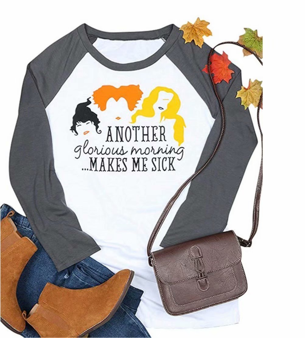 MNLYBABY Another Glorious Morning Makes ME Sick Hallween T-Shirt Women Long Sleeve Sanderson Sisters Top Tees Size M (Grey)