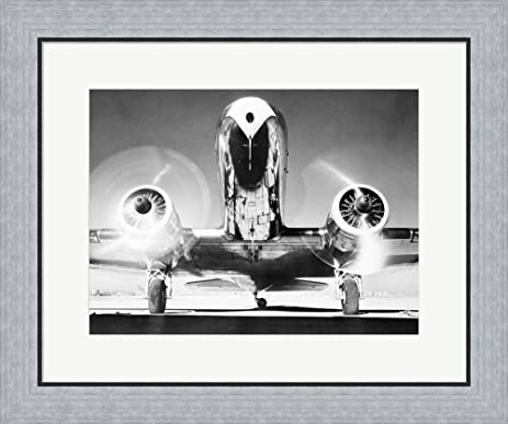 Amazon.com: Front View of Passenger Airplane Framed Art Print Wall ...