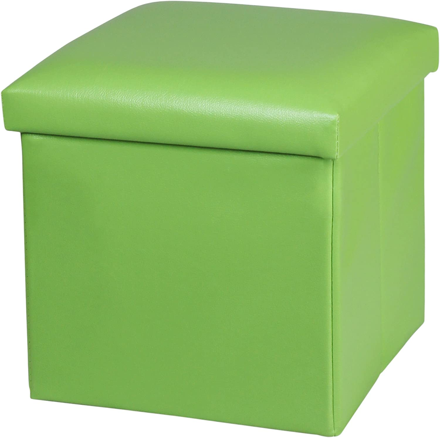 NISUNS OT01 Leather Folding Storage Ottoman Cube Footrest Seat, 12 X 12 X 12 Inches (Green)
