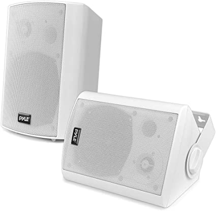 Wall Mount Home Speaker System - Active + Passive Pair Wireless Bluetooth  Compatible Indoor / Outdoor Water-resistant Weatherproof Stereo Sound