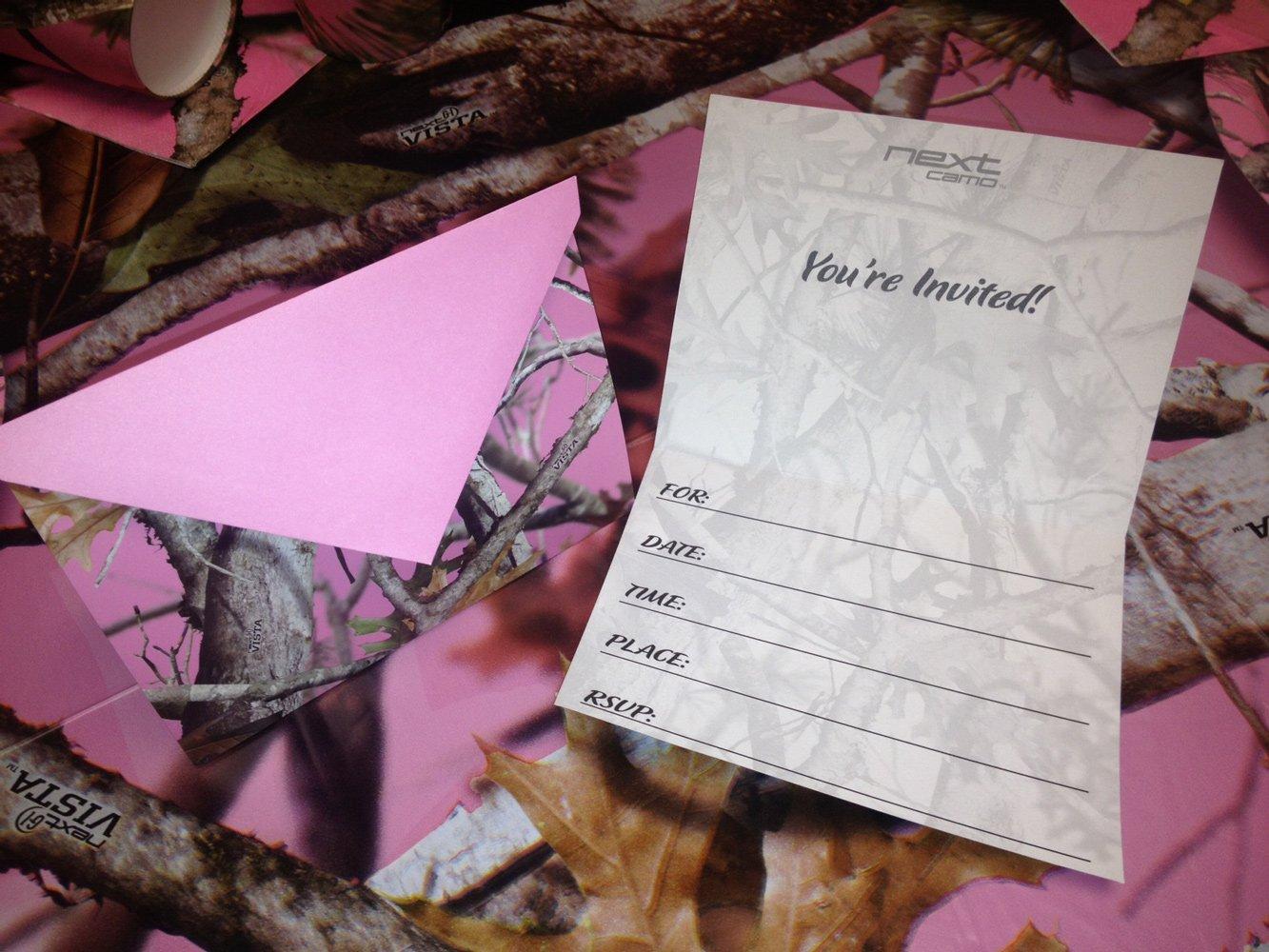 Amazon.com: NEXT Pink Camo Party Invitations Invites Camouflage Card ...