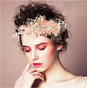 Amazon pearl rhinestone metal lace silk flower bridal pearl rhinestone metal lace silk flower bridal headpieces handmade jewelry halo floral crown hair flower mightylinksfo
