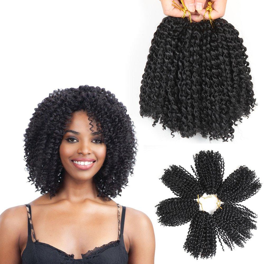 Amazon Com 8 Inch Short Marlybob Crochet Hair 6 Bundles Kinky Curly Crochet Hair Kinky Twist Crochet Hair Jerry Curl Crochet Hair Kinky Crochet Hair Braids Curly Crochet Hair For Black Women