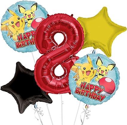 """18/"""" Globos De Papel De Aluminio Fiesta Decoración De Cumpleaños De Pokemon 1,3,5,10"""