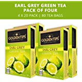 Golden Tips Earl Grey Green 20 Tea Bags, 40gm (Pack of 4)