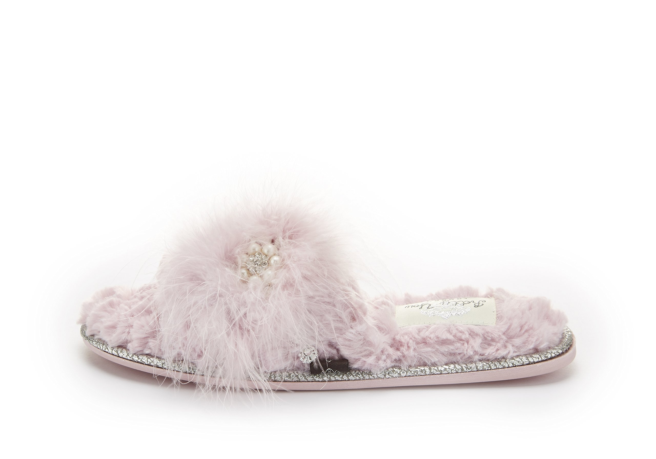Pretty You London Women's Footwear One Band Pink Slippers Odette (Medium)