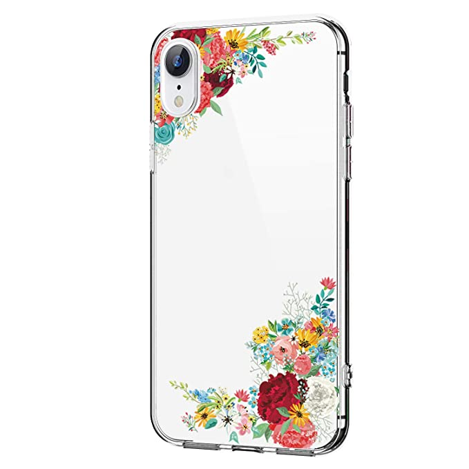 Case Compatible with iPhone Xs Max XR Phone Case Silicone Gel Rubber Clear Flower TPU Bumper Shockproof Protective Cover