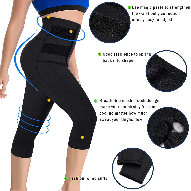 6307c735b5b Amazon.com  Ursexyly Women Sauna Yoga Pant Capris Fat Control Sweat Legging  with Waist Trainer Belt  Clothing