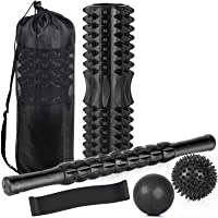 """Perkisboby 5 in 1 Fitness Foam Roller Set, 18"""" Hollow Core Massage Roller with Muscle Roller Stick, Spiky Massage Ball…"""