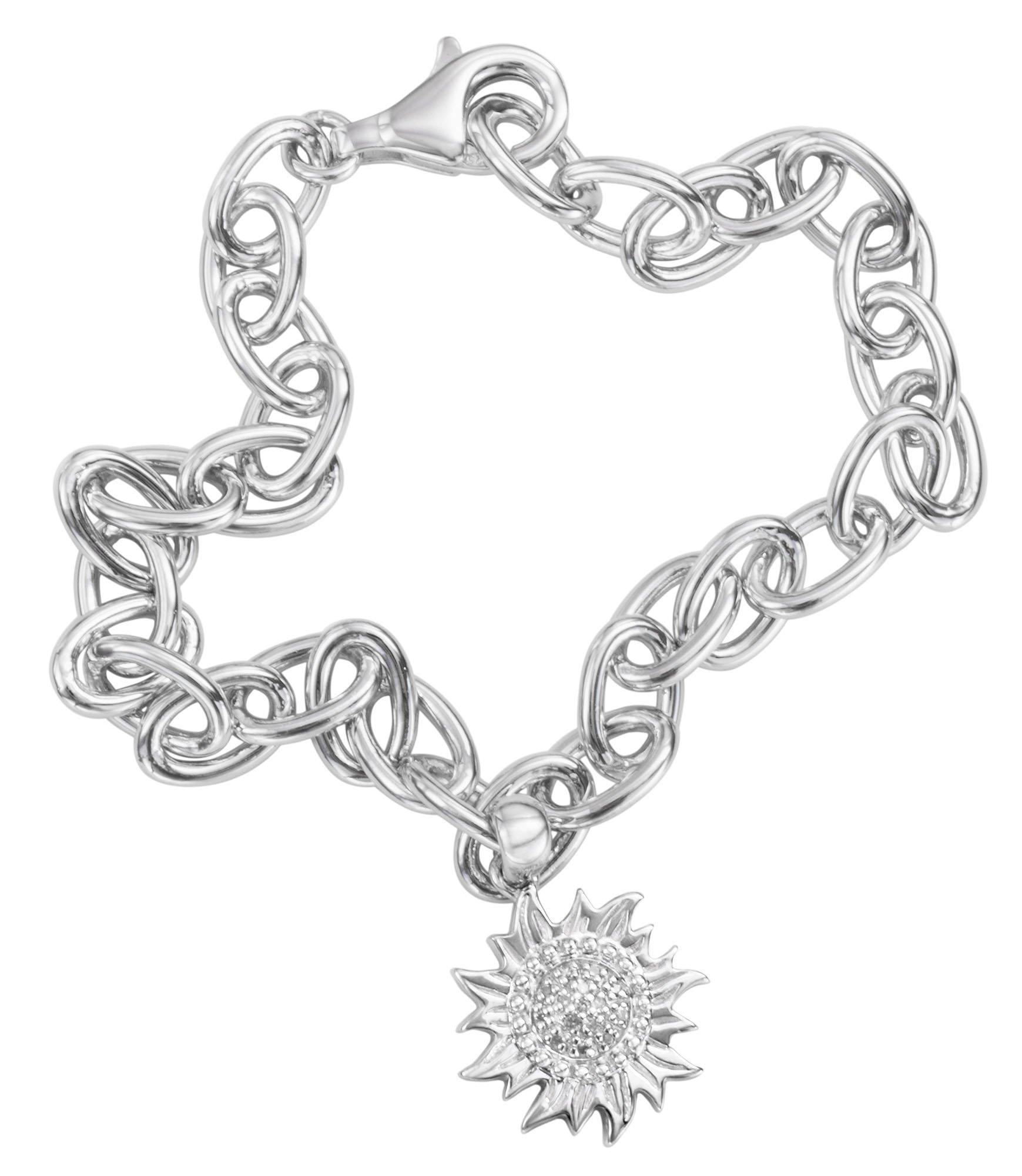 Genuine Solid Sterling Silver .925 Puerto Rico Sun Link Charm Bracelet
