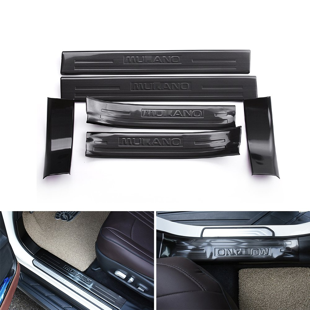KPGDG 6 PCS Fit for Nissan Murano 2015-2018 Stainless Steel Inner Door Sills Scuff Plate Guard Sills Protector Trim - Black