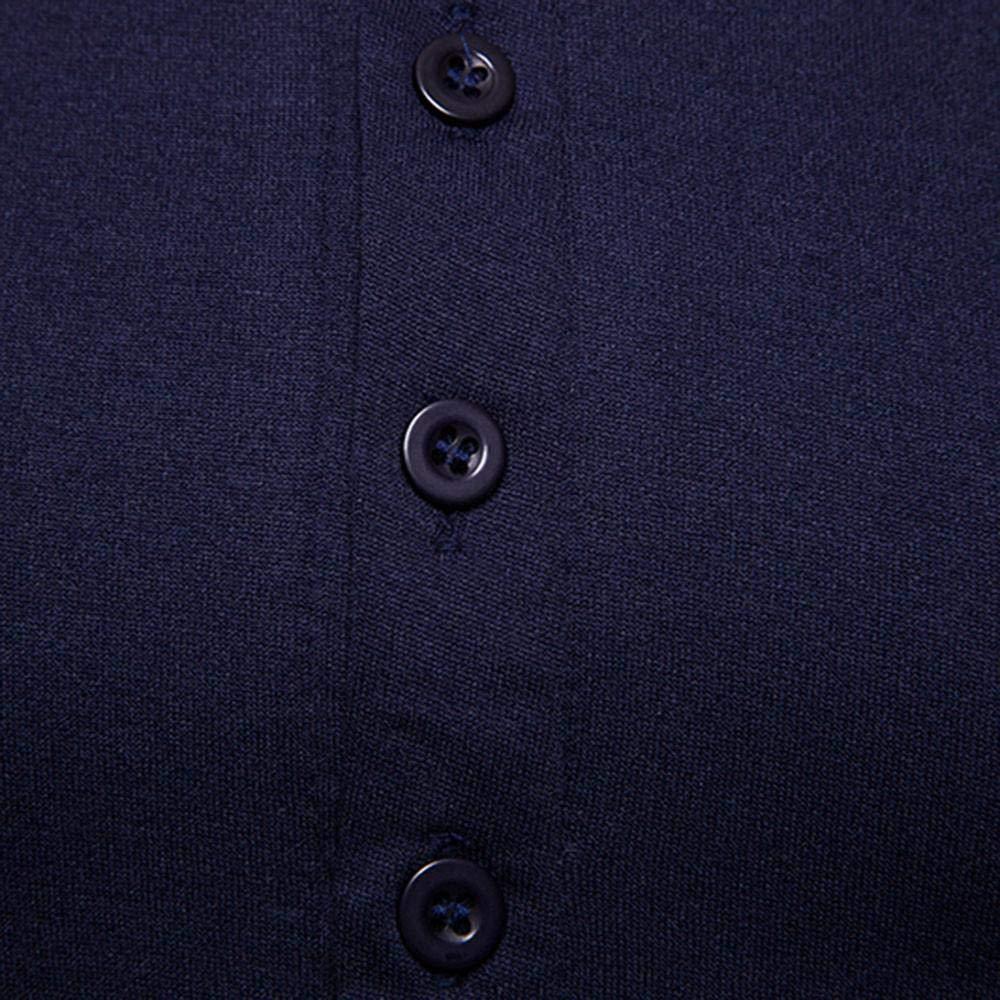 Doublehero Herren Langarmshirt Slim Fit Knopfleiste Rundhals Kragen T-Shirt Pullover Sweatshirt Herbst Winter Warme Mode Slim Fit Pullover Freizeit Bluse Fitness Oberteile