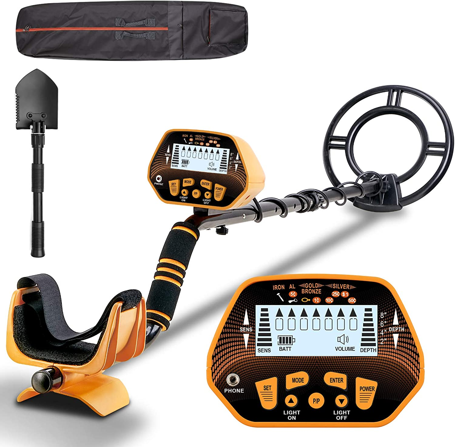 Esright Accurate Metal Detector with LCD Display Adjustable Height for Adults /& Kids Gold Detector with 10in Waterproof Sensitive Search Coil P//P /& Disc Modes