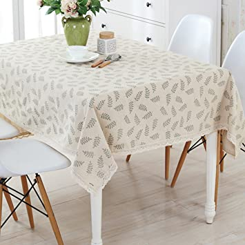 Bringsine Fashion Classic Square Cotton Linen Lace Leaves Tablecloth, Washable  Tablecloth Vintage Dinner Picnic Table