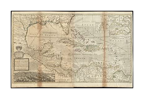1715 Map West Indies Of The Or Islands America In
