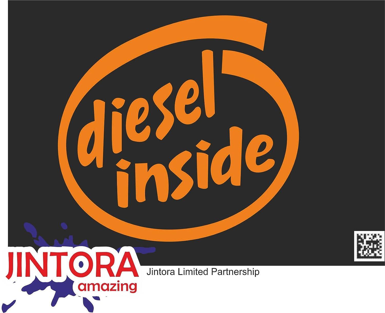 Amazon Jintora ステッカー カーステッカー Diesel Inside ディーゼルの内側 105x99 Mm Jdm Die Cut 車 ウィンドウ ラップトップ ウィンドウ オレンジ ステッカー デカール 車 バイク