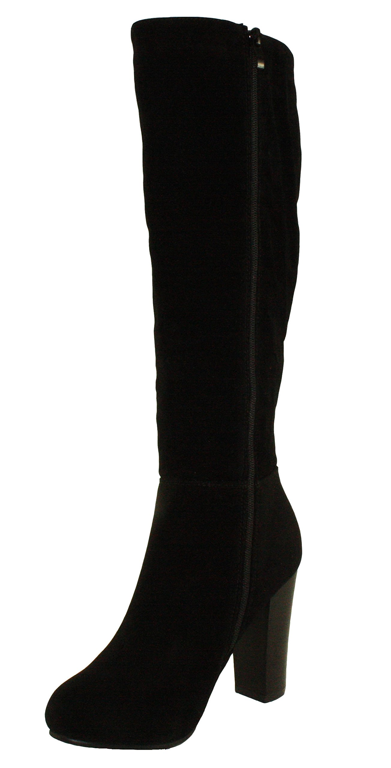Refresh Women's Ringo-03 Knee High Side Zipper Closure Chunky High Heel Dress Boots,Black,6