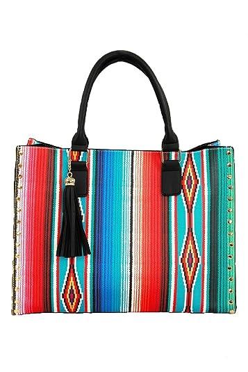 NGIL Western Southwest Serape Faux Leather 2 in 1 Studded Satchel Handbag  Tassel 213d74a966740