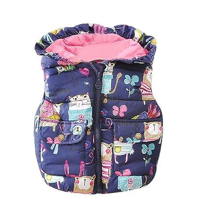 1-5T Baby Girl Boy Winter Hooded Vest Kids Warm Animal Graffiti Print Waistcoat